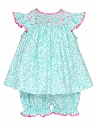 Claire & Charlie Baby Girls Aqua Floral / Pink Smocked Bloomers Set