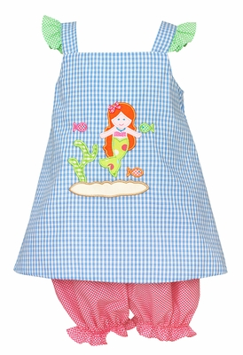Claire & Charlie Baby Girls French Blue Mermaid Bloomers Set