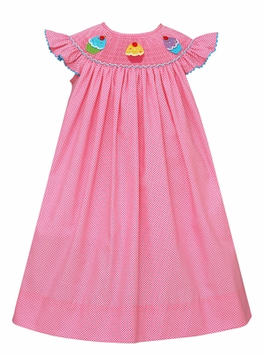 Claire & Charlie Baby Girls Hot Pink / White Dots Smocked Birthday Cupcakes Dress