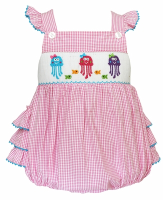 Claire & Charlie Baby Girls Pink Gingham Smocked Jelly Fish Ruffle Bubble