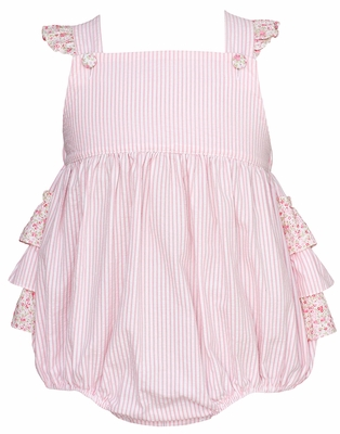 Claire & Charlie Baby Girls Pink Striped Bubble with Floral Ruffles
