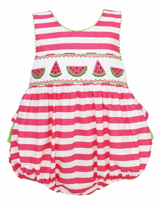 8d0293c3ac2d Claire   Charlie Baby Girls Pink Striped Ruffle Bubble - Smocked ...