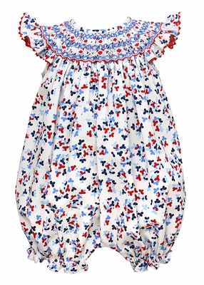 cbc17164d Claire & Charlie Baby Girls Red / White / Navy Blue Patriotic Floral Smocked  Bubble