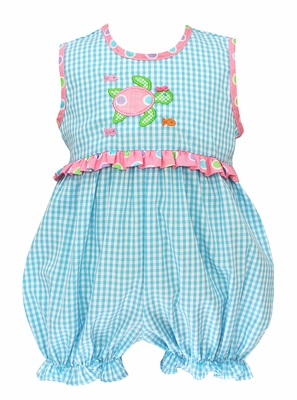 Claire & Charlie Baby Girls Turquoise Check Bubble - Applique Turtle