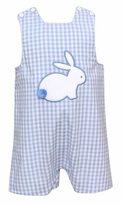 Claire & Charlie Baby / Toddler Boys Reversible Blue Check Jon Jon - Applique Easter Bunny