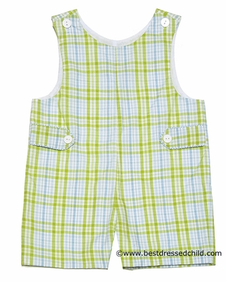 Claire & Charlie Baby / Toddler Boys Blue / Green Plaid Shortall