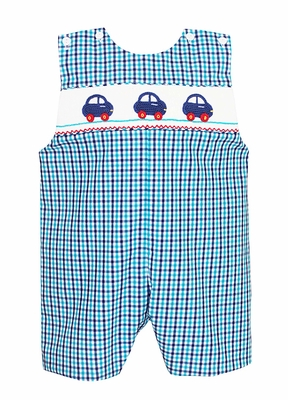 Claire & Charlie Baby / Toddler Boys Blue / Turquoise Plaid Smocked Cars Shortall