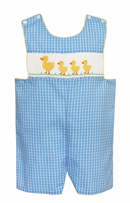 Claire & Charlie Baby / Toddler Boys Blue Plaid Jon Jon with Smocked Yellow Ducks