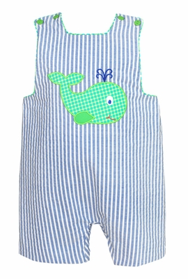 Claire & Charlie Baby / Toddler Boys Blue Striped Applique Whale Shortall