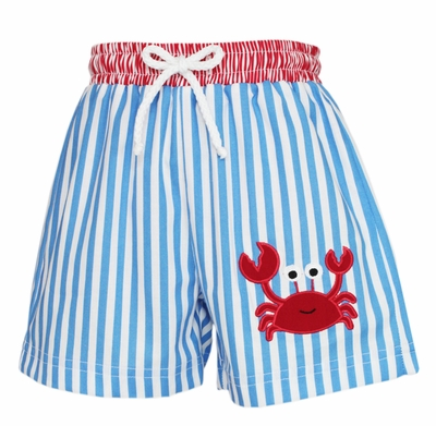 Claire & Charlie Baby / Toddler Boys Blue Striped Swim Trunks - Red Crab