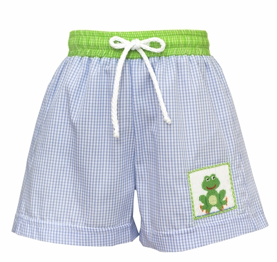 Claire & Charlie Baby / Toddler Boys Blue Swim Trunks - Smocked Green Frog