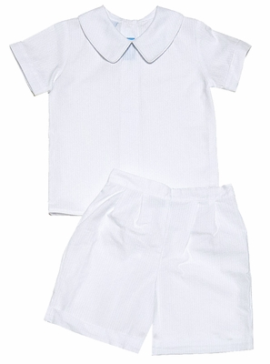 Claire & Charlie Baby / Toddler Boys Dressy White Seersucker Shorts Set