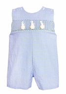 Claire & Charlie Baby / Toddler Boys French Blue Gingham Smocked White Crochet Easter Bunny Shortall