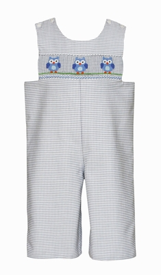 Claire & Charlie Baby / Toddler Boys Gray Check Smocked Blue Owls Longall