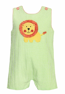 Claire & Charlie Baby / Toddler Boys Green Gingham Lion Shortall