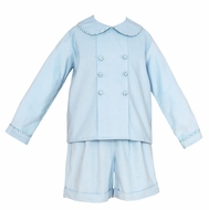Claire & Charlie Baby / Toddler Boys Light Blue Corduroy Dressy Shorts Set