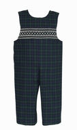 Claire & Charlie Baby / Toddler Boys Navy Blue / Green Blackwatch Plaid Smocked Longall