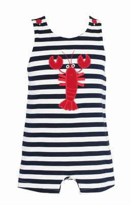 b7c0b73685cc Claire & Charlie Baby / Toddler Boys Navy Blue / White Striped Knit Applique  Red Lobster Jon Jon