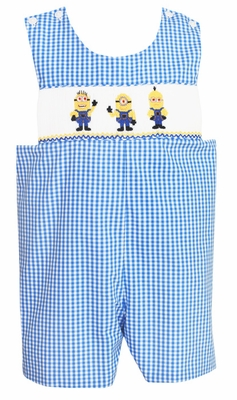 Claire & Charlie Baby / Toddler Boys Periwinkle Blue Gingham Smocked Little Minions Friends Shortall