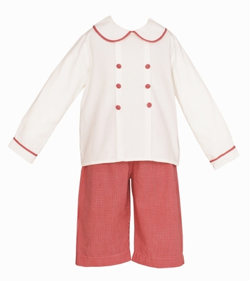 Claire & Charlie Baby / Toddler Boys Winter White Corduroy / Red Check Double Breasted Pants Set