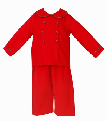 Claire & Charlie Boys Red Corduroy Double Breasted Pant Set with Plaid Trim