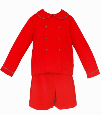 Claire & Charlie Baby / Toddler Boys Red Corduroy Double Breasted Short Set with Plaid Trim