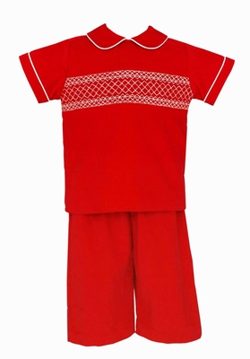 Claire & Charlie Baby / Toddler Boys Red Corduroy Smocked Pant Set