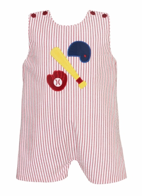 Claire & Charlie Baby / Toddler Boys Red Striped Baseball Shortall