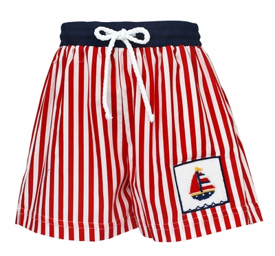 Claire & Charlie Baby / Toddler Boys Red Striped Smocked Sailboat Swim Trunks