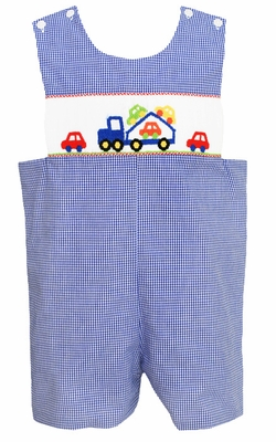 Claire & Charlie Baby / Toddler Boys Royal Blue Gingham Smocked Car Carrier Truck Shortall