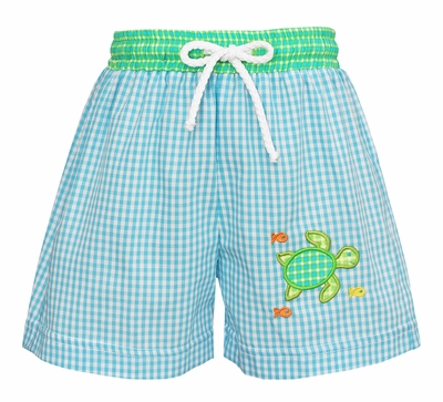 Claire & Charlie Baby / Toddler Boys Turquoise Check Swim Trunks - Sea Turtle