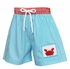 Claire & Charlie Baby / Toddler Boys Turquoise Stripe Swim Trunks - Crochet Red Crab