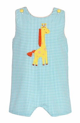Claire & Charlie Baby / Toddler Boys Turquoise Check Yellow Giraffe Shortall