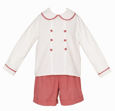 Claire & Charlie Baby / Toddler Boys Winter White Corduroy / Red Check Double Breasted Shorts Set