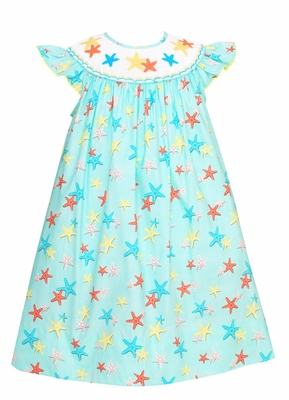Claire & Charlie Baby / Toddler Girls Aqua Starfish Print Smocked Star Fish Dress