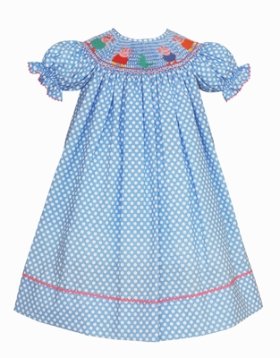 Claire & Charlie Baby / Toddler Girls Blue / White Dots Smocked Peppa Pig Dress