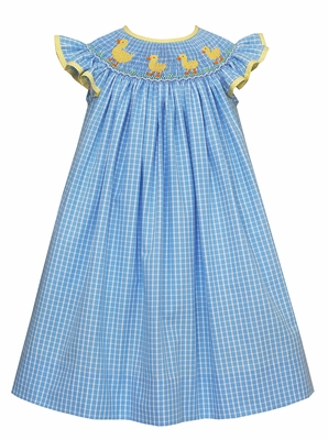 Claire & Charlie Baby / Toddler Girls Blue Plaid Smocked Yellow Ducks Dress - Bishop