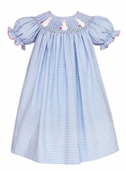 Claire & Charlie Baby / Toddler Girls French Blue Gingham Smocked White Crochet Easter Bunny Dress - Bishop