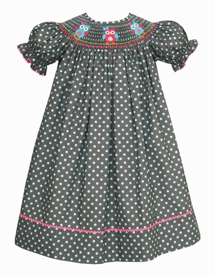 Claire & Charlie Baby / Toddler Girls Gray / Blue Dots Smocked Owls Dress