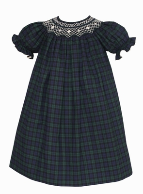 Claire & Charlie Baby / Toddler Girls Navy Blue / Green Blackwatch Plaid Smocked Dress - Bishop