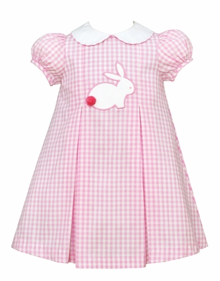 Claire & Charlie Baby / Toddler Girls Pink Check Pleated Dress - Applique Easter Bunny