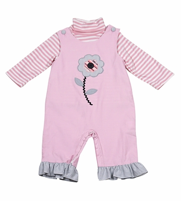 Claire & Charlie Baby / Toddler GIrls Pink Corduroy Flower Ruffle Romper with Striped Turtleneck Shirt