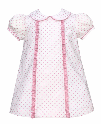 Claire & Charlie Baby / Toddler Girls Pink Dots Dress with Collar & Ruffles