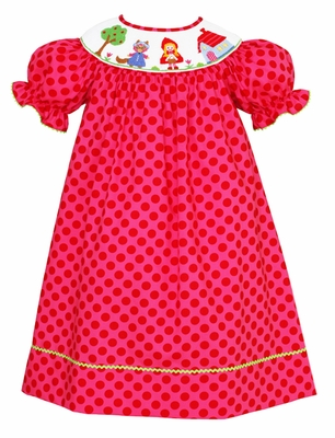 Claire & Charlie Baby / Toddler Girls Pink Dots Smocked Little Red Riding Hood Dress