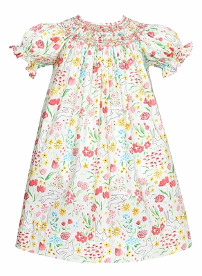Claire & Charlie Baby / Toddler Girls Pink Easter Bunny Floral Print Smocked Dress - Bishop