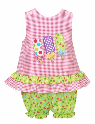 Claire & Charlie Baby / Toddler Girls Pink Check Seersucker Popsicles Bloomers Set