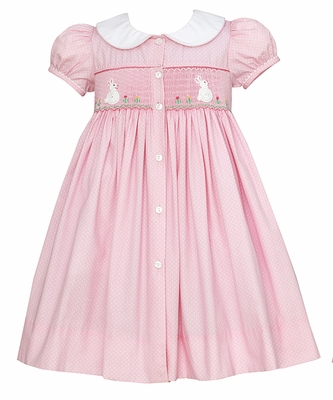 Claire & Charlie Girls Pink Smocked Crochet White Easter Bunnies Dress - Button Front - Bunny on Back!
