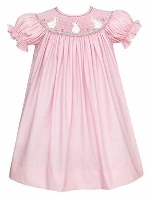 Claire & Charlie Baby / Toddler Girls Pink Smocked Crochet White Easter Bunnies Dress - Bishop
