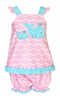 Claire & Charlie Baby / Toddler Girls Pink Waves / Turquoise Dots Applique Whale Bloomers Set