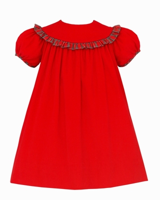 Claire & Charlie Baby / Toddler Girls Red Corduroy Float Dress - Round Collar Trimmed in Plaid